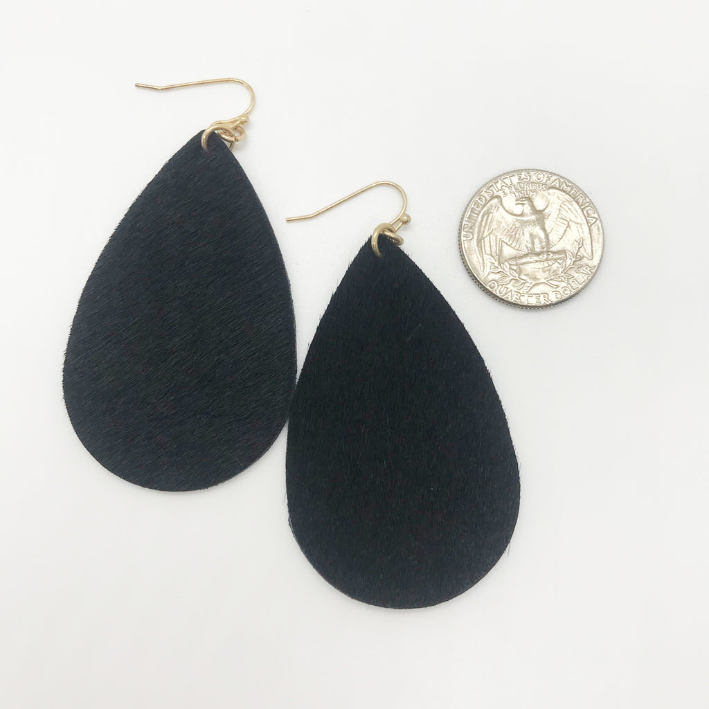 Faux Cow Hide Tear Drop Earrings