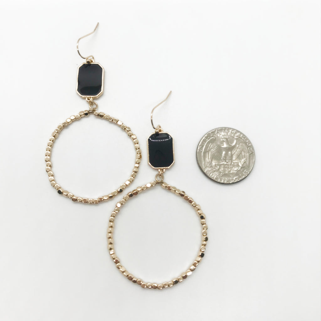 Black Stone Beaded Hoop Earrings