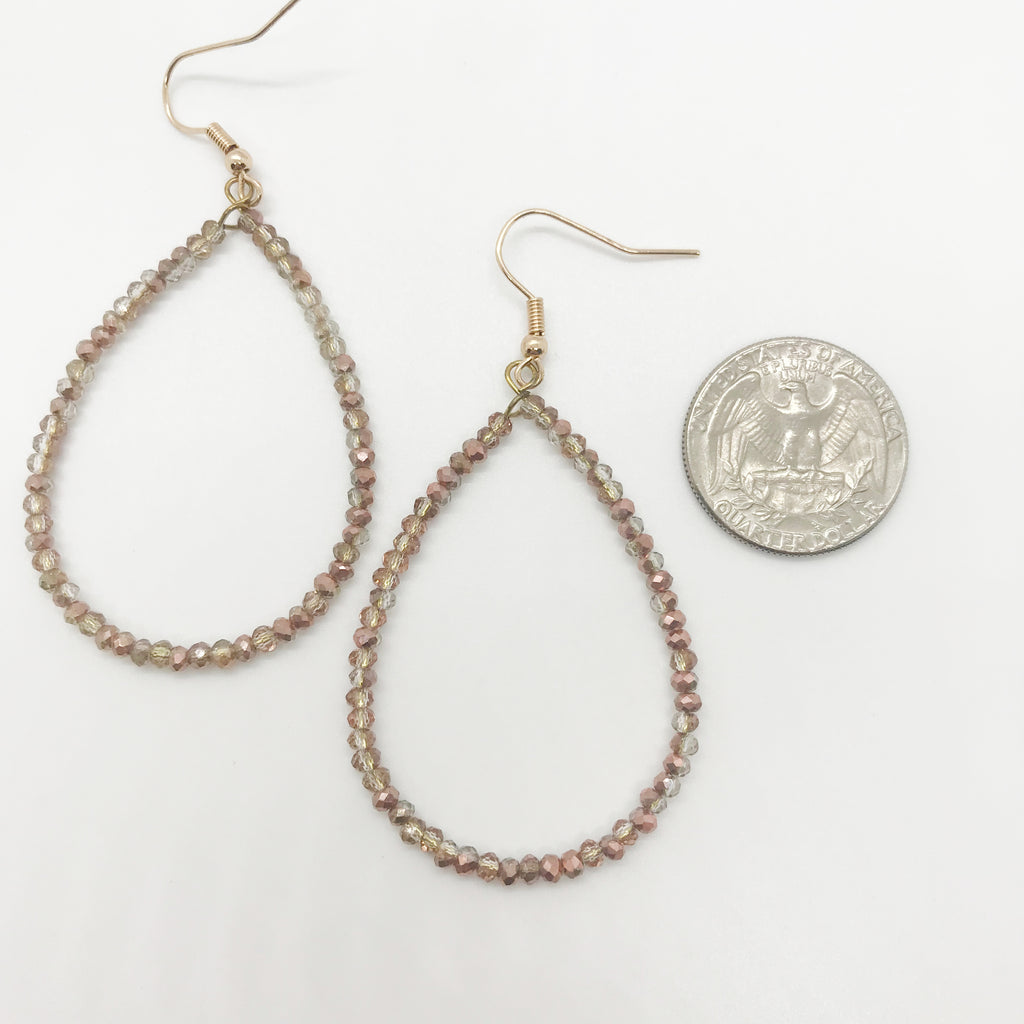 Russet Beaded Tear Drop Earrings