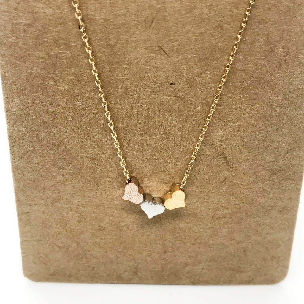 Tri Metal Hearts Necklace