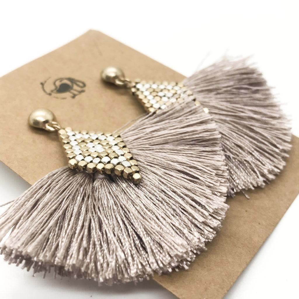 Mixed Metal Tassel Earrings-Mauve