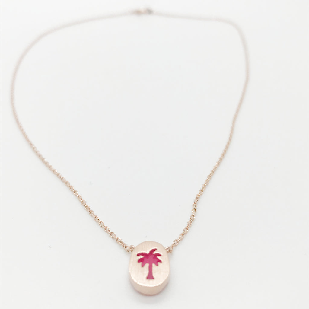 Pink Palm Tree Necklace