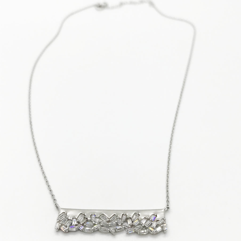 Sterling Silver Jagged CZ Bar Necklace