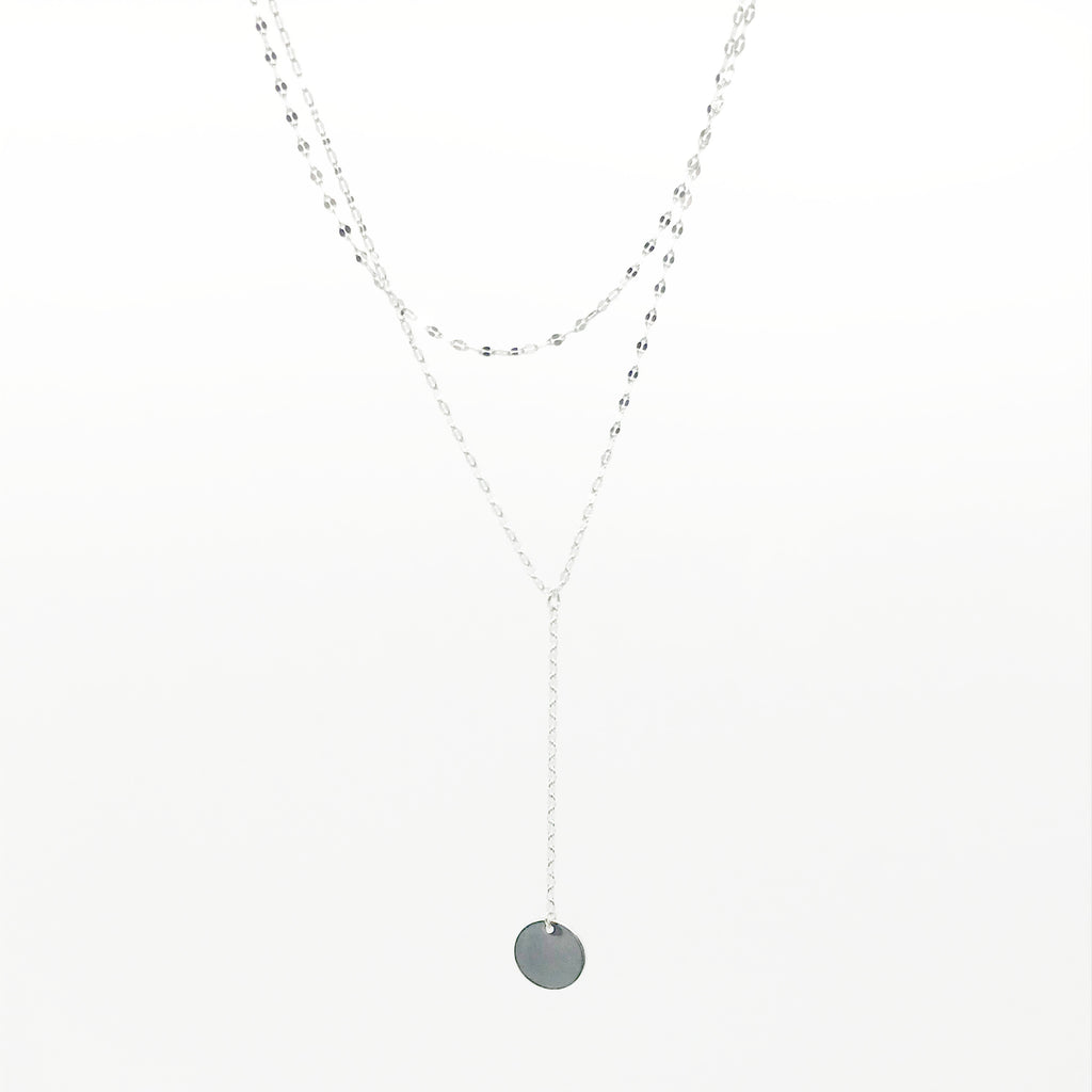 Layered Mini Silver Pendant Necklace