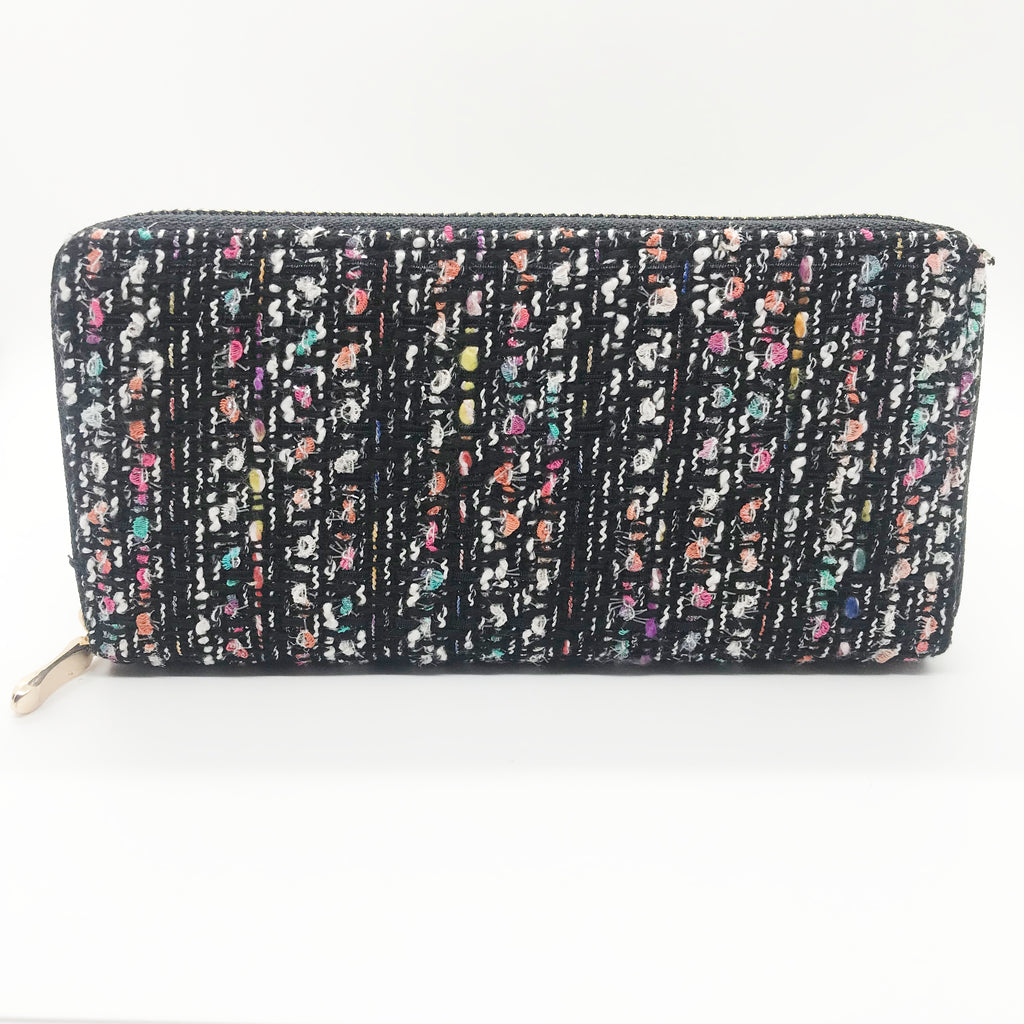 Tweed Wallet-Black with Multi Color