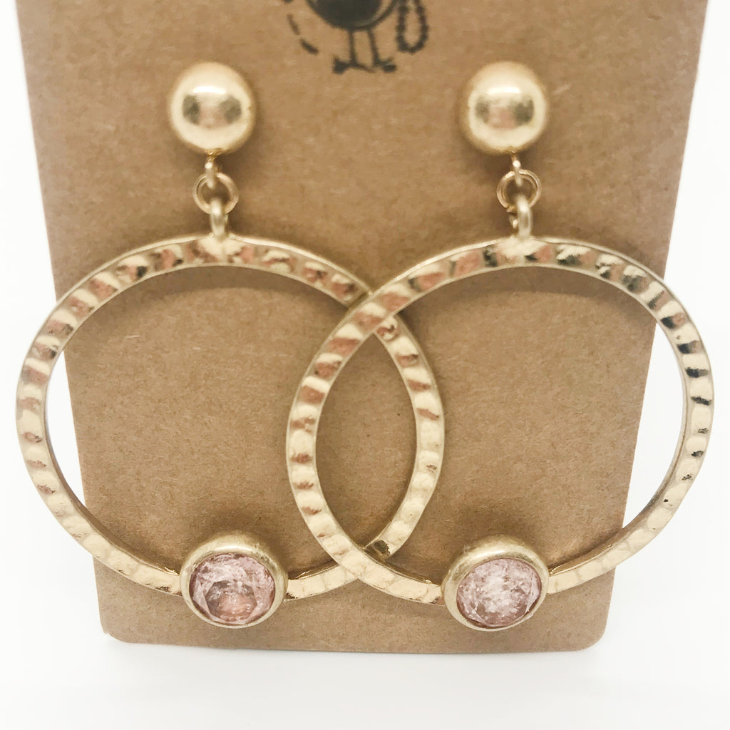 Pink Stone Hammered Hoop Earrings