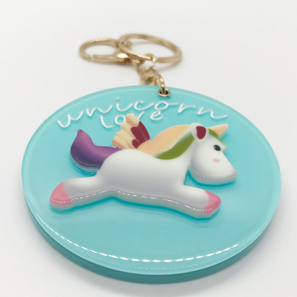 "Aqua ""UNICORN LOVE"" Keychain W/ Mirror"