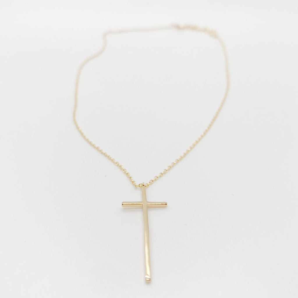 18K Gold Thin Cross Pendant Necklace-Gold