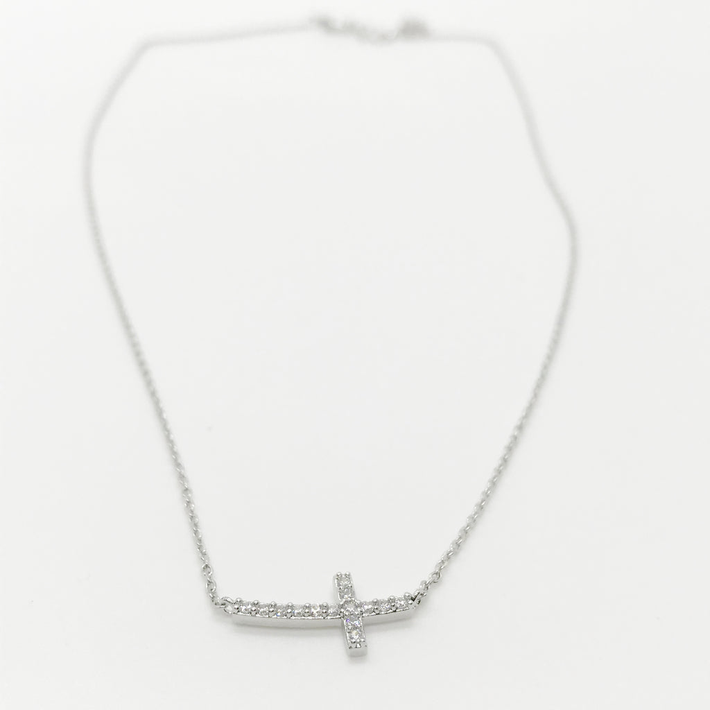 18K Gold CZ Mini Cross Necklace-Silver