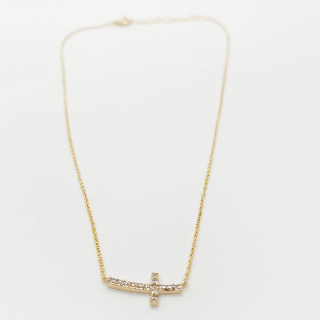 18K Gold CZ Mini Cross Necklace-Gold