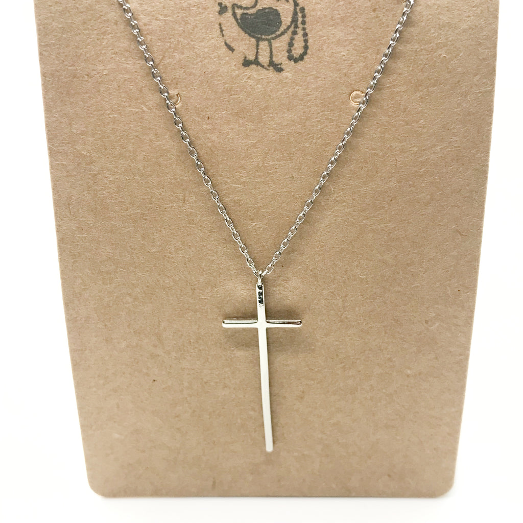 18K Gold Thin Cross Pendant Necklace-Silver