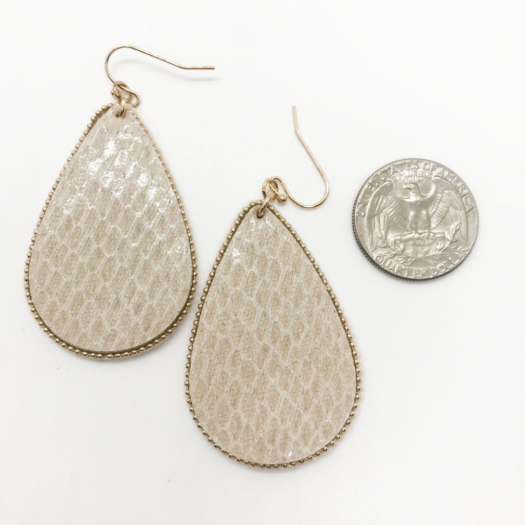 Shiny Snake Skin Tear Drop Earrings