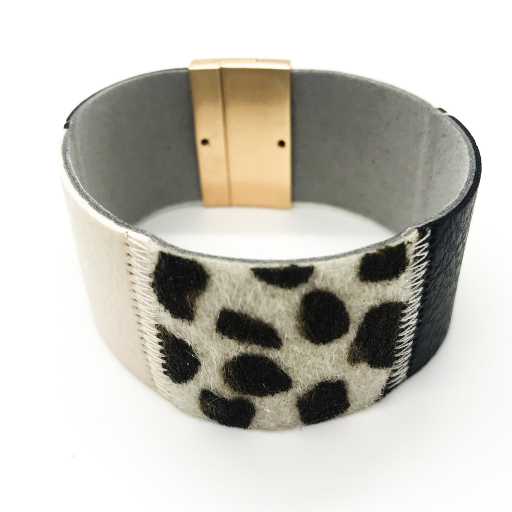 Leather Block Animal Print Bracelet
