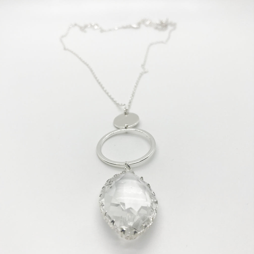 Crystal Drop Pendant Necklace-Silver