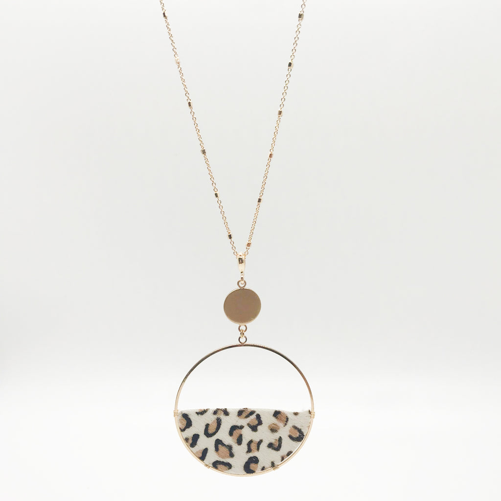 Semi Circle Leopard Print Necklace