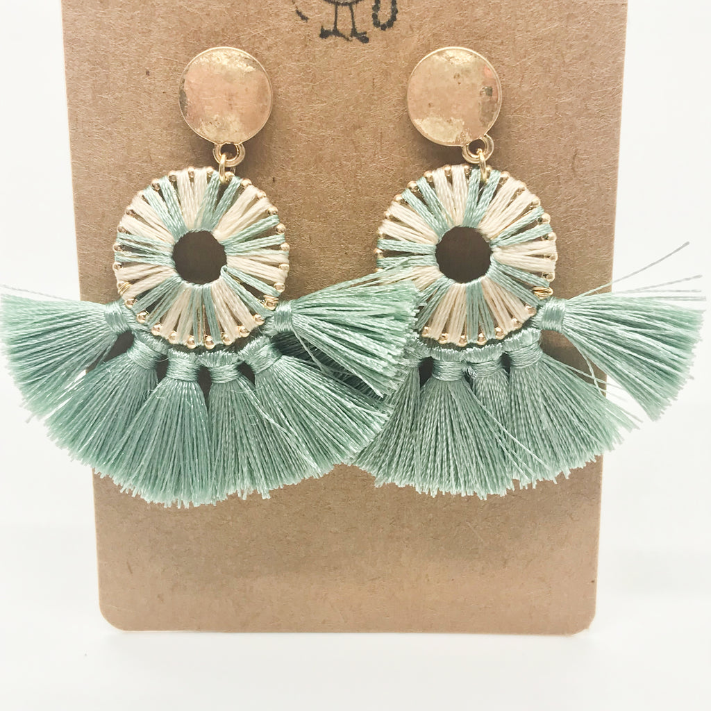 Mini Tassel Earrings-Sage