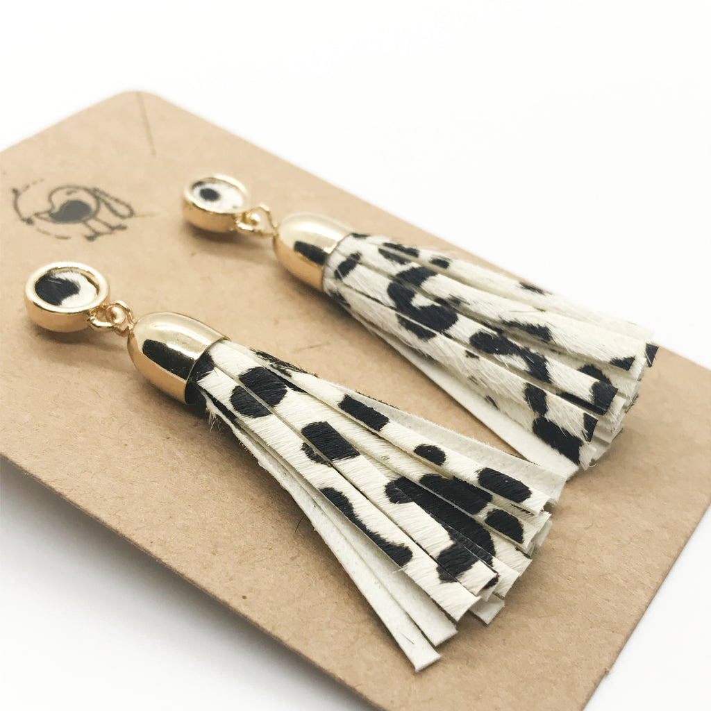 Animal Print Leather Tassel Earrings-Dalmation