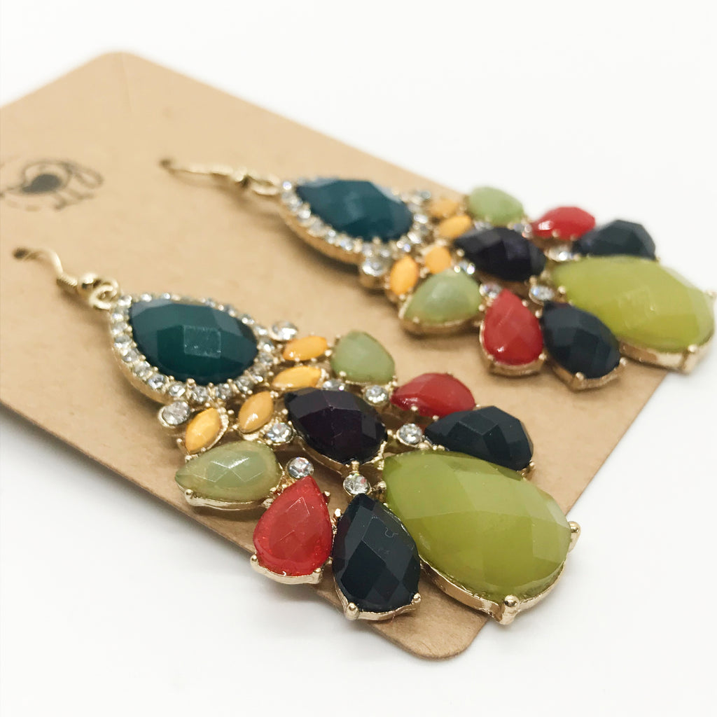 Multi Faceted Stone Earrings