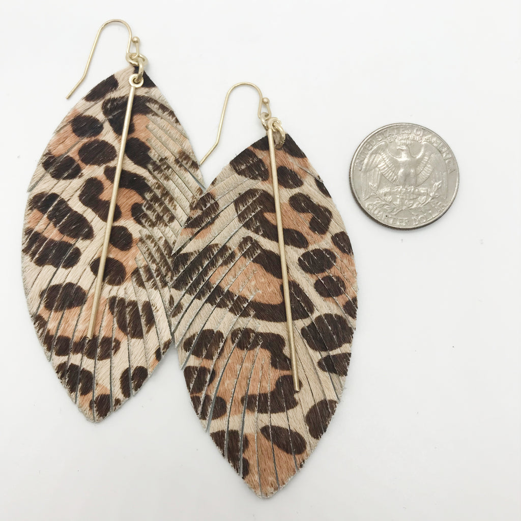 Leather Leopard Print Earrings-Natural