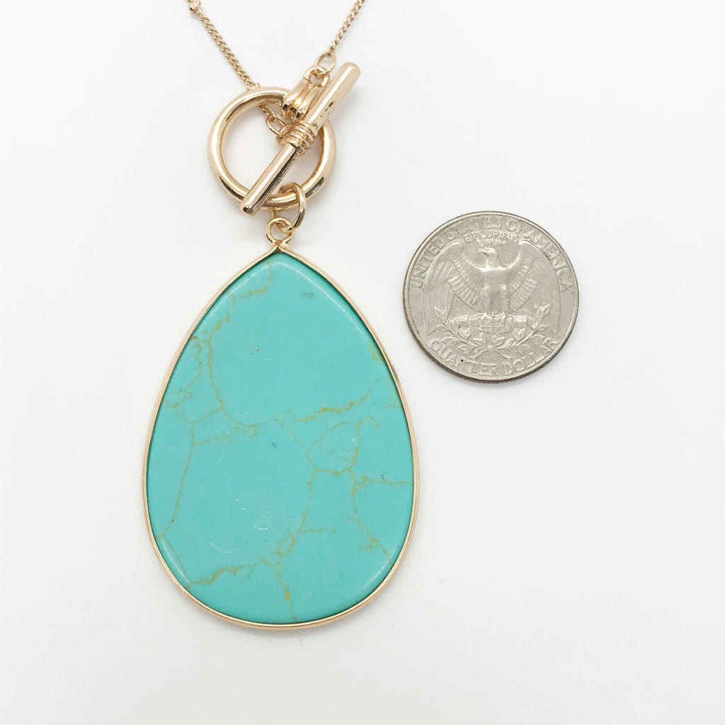 Tear Drop Toggle Necklace- Turquoise Stone
