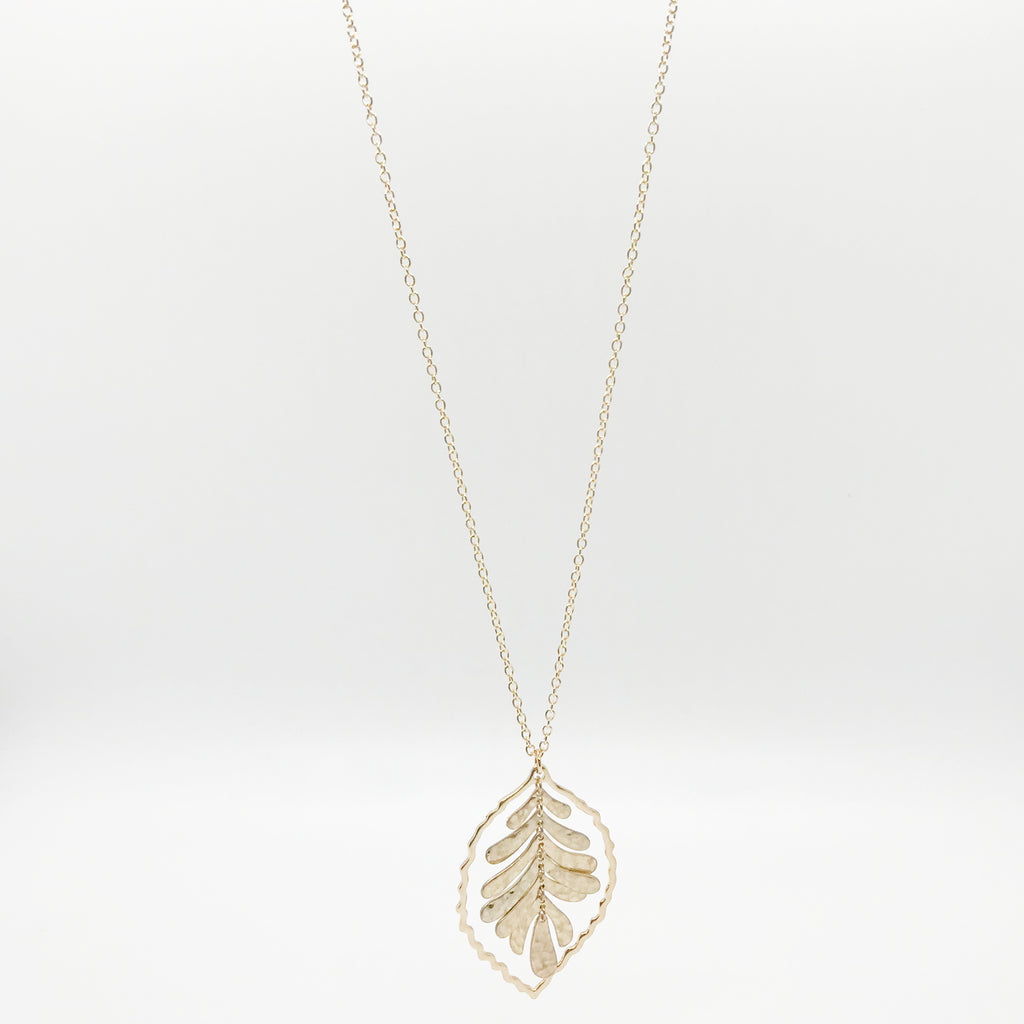 Dangling Gold Leaf Necklace