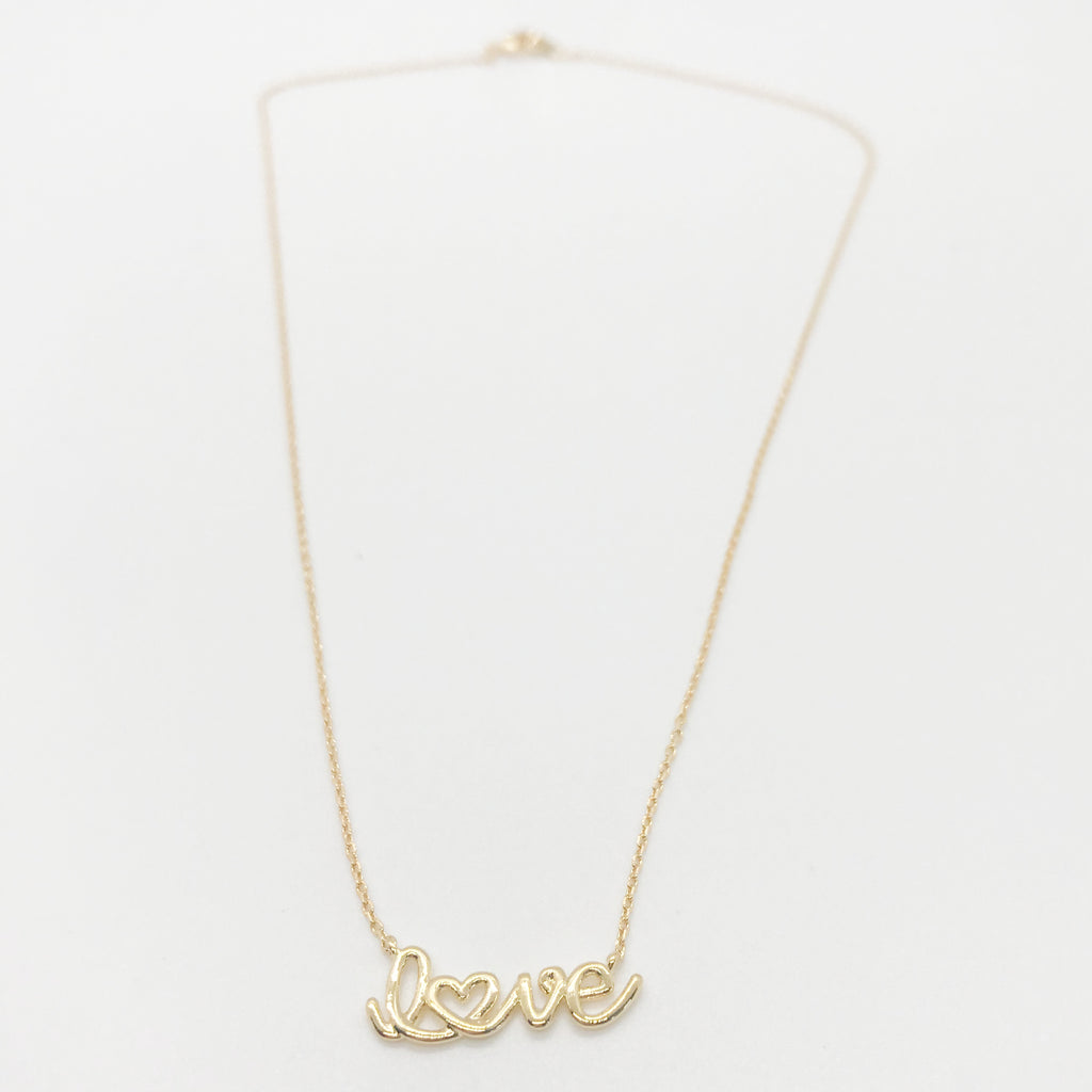 """love"" Necklace- Gold"