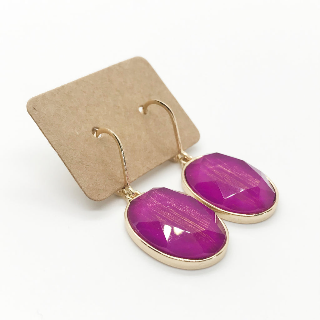 Faceted Oval Stone Drop Earrings-Fuchsia