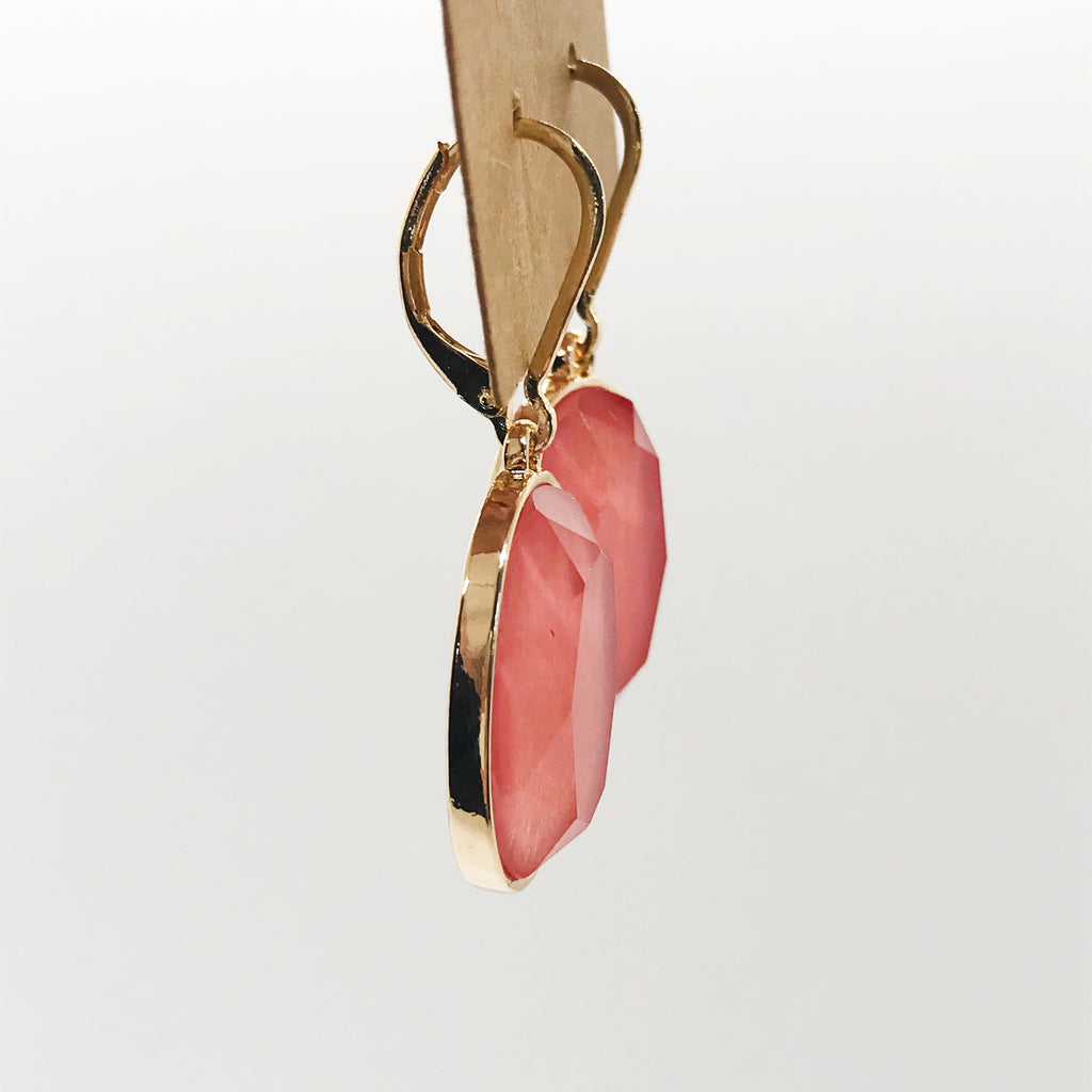 Faceted Oval Stone Drop Earrings-Coral