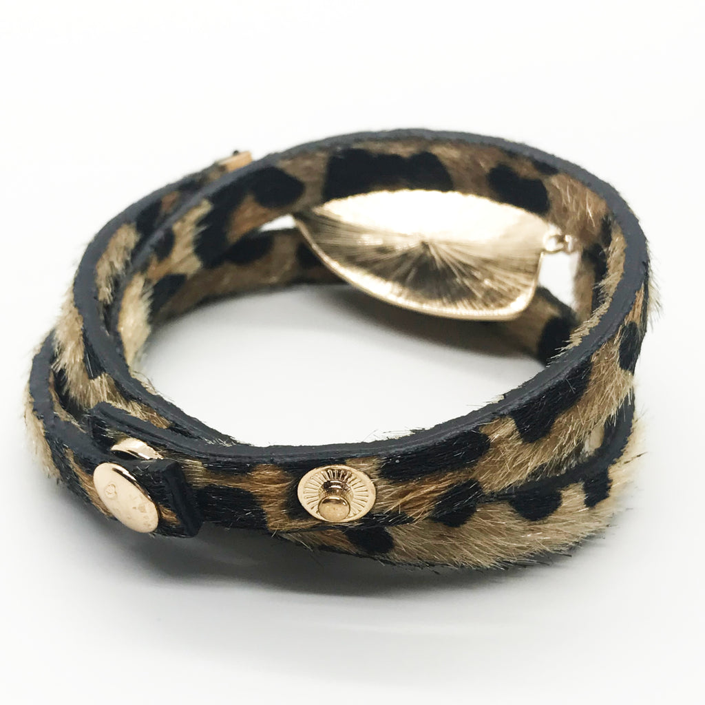 Layered Leopard Disc Bracelet