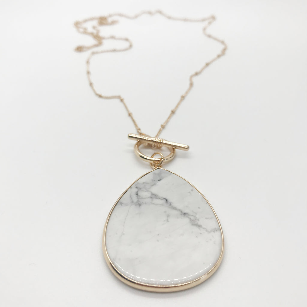 Tear Drop Toggle Necklace- Howlite Stone
