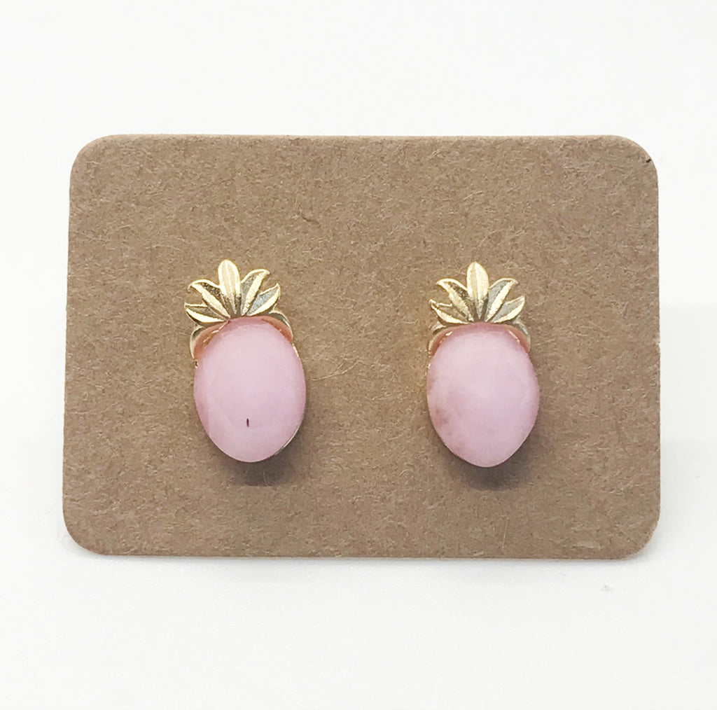 Rose Stone Pineapple Earrings