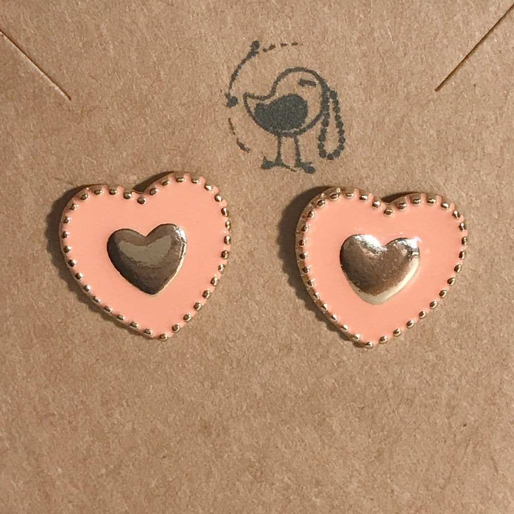 Coral Heart Earrings