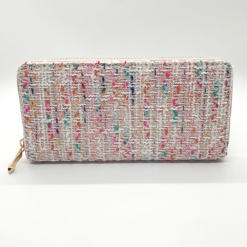 Tweed Wallet-Pink with Multi Color