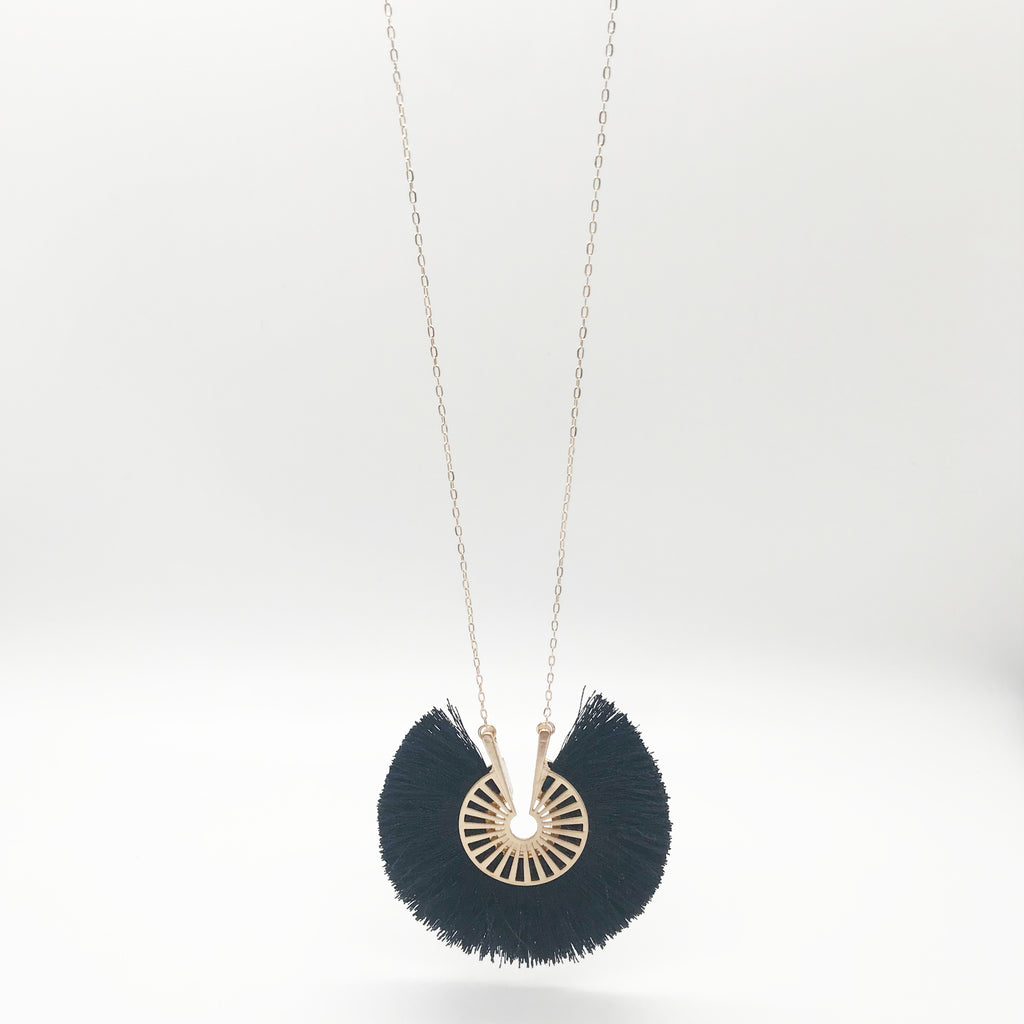 Round Black Tassel Necklace