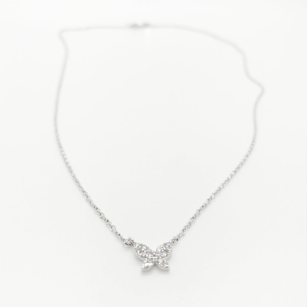 Mini Bling Butterfly Necklace-Silver