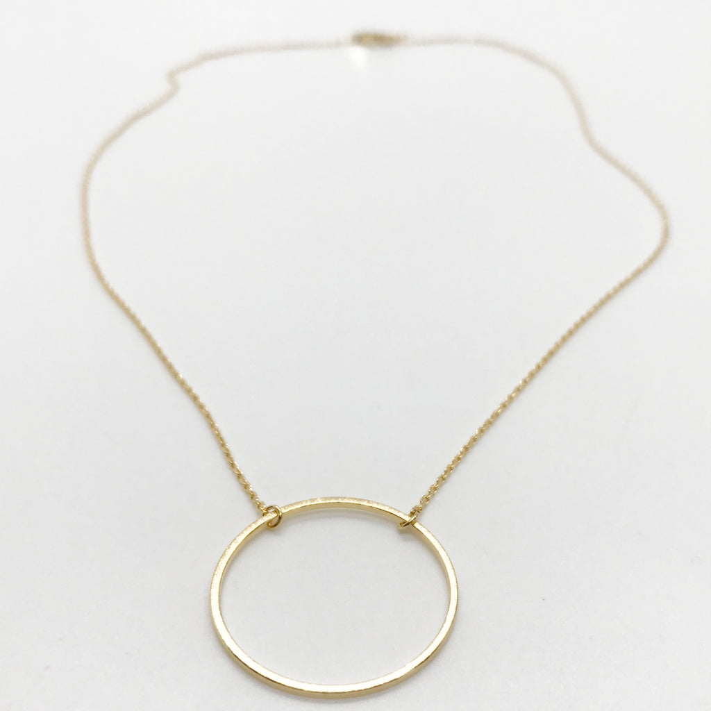 Large Floating Ring Necklace-Gold