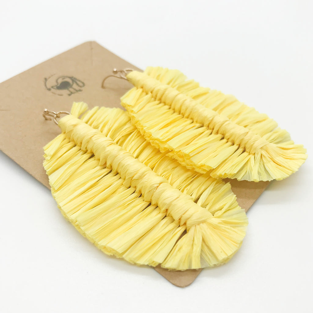 Raffia Feather Earrings-Yellow
