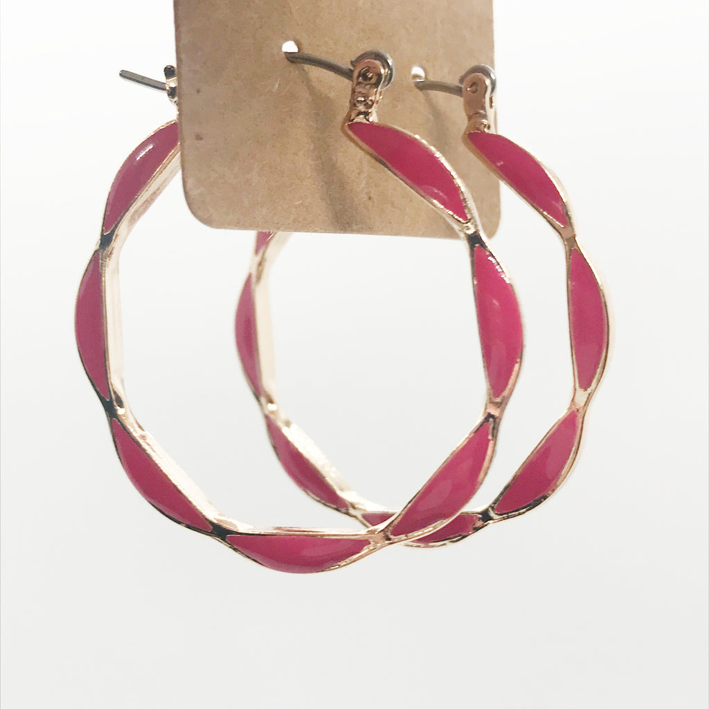 Color Block Hoops-Pink