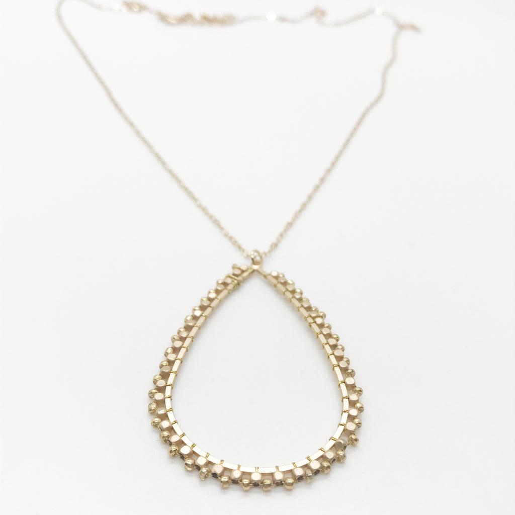 Beaded Tear Drop Necklace-Gold