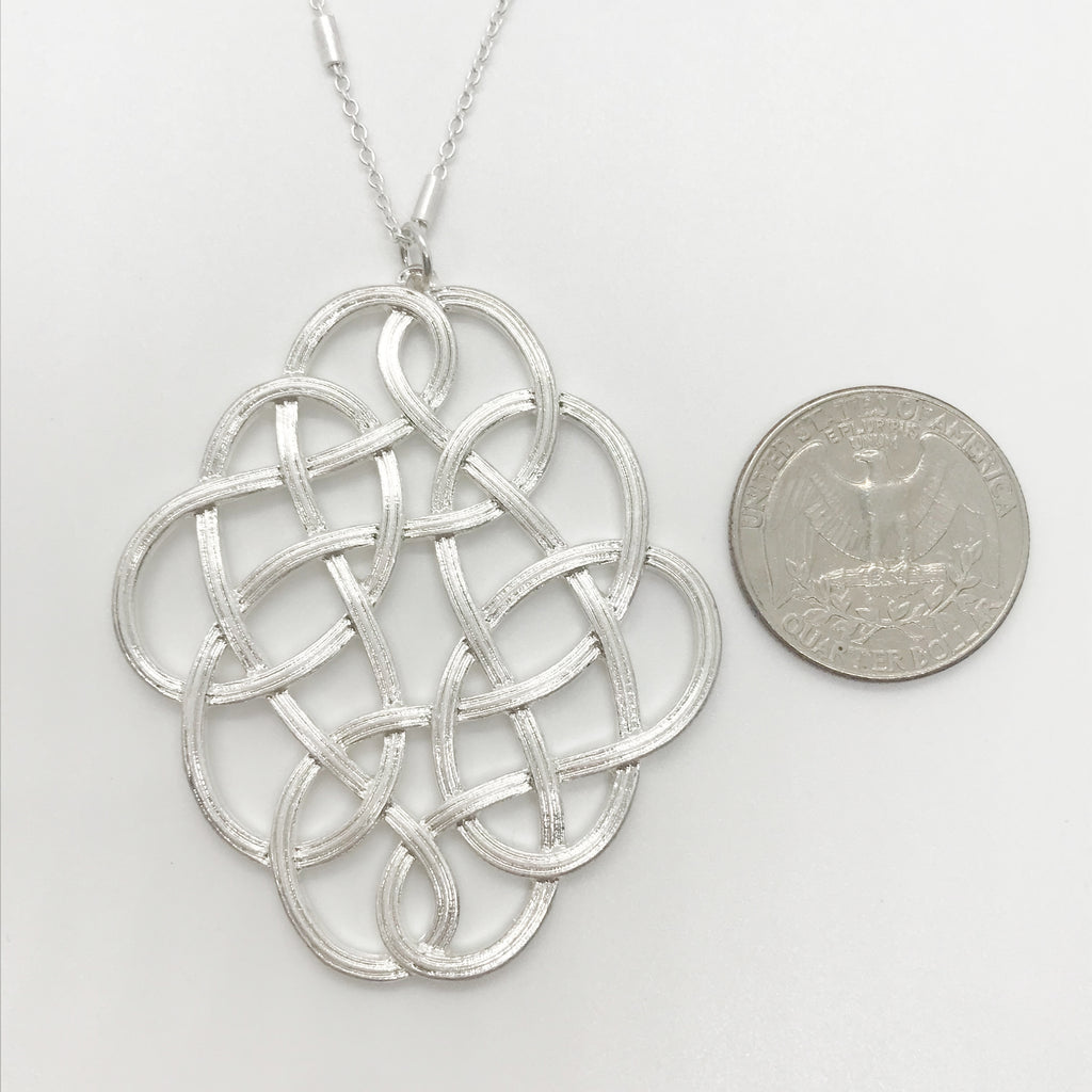 Oval Weave Pendant Necklace-Silver