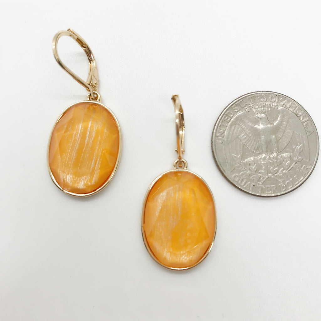Faceted Oval Stone Drop Earrings-Yellow