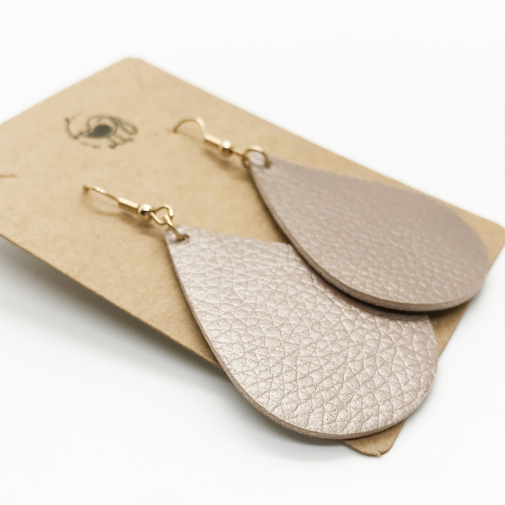 Leather Tear Drop Earring-Champagne