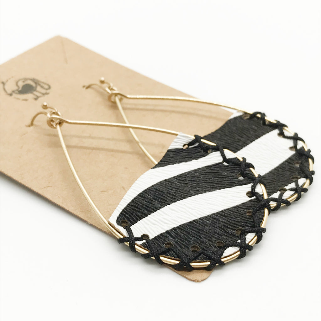 Stitched Zebra Print Earrings
