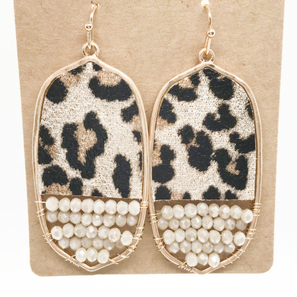 Leopard Sheen Beaded Earrings