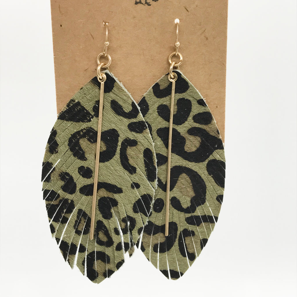 Leather Leopard Print Earrings- Olive