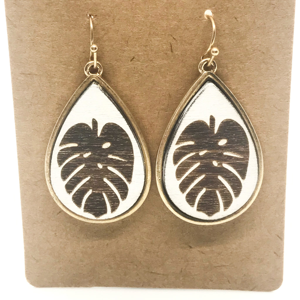 Wooden Tropical Leaf Earrings