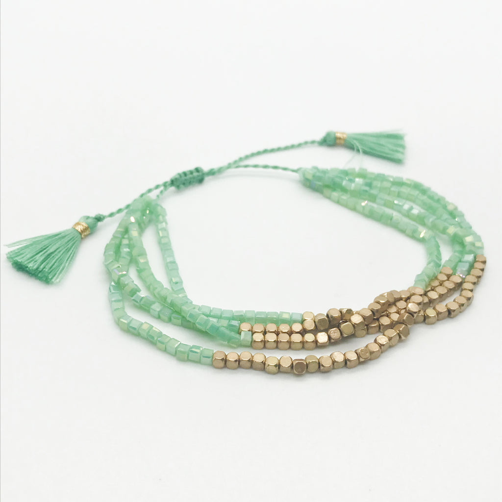 Multi Layered Beaded Bracelet-Mint Green