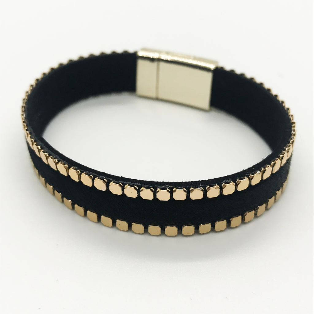 Gold Beaded Leather Bracelet-Black
