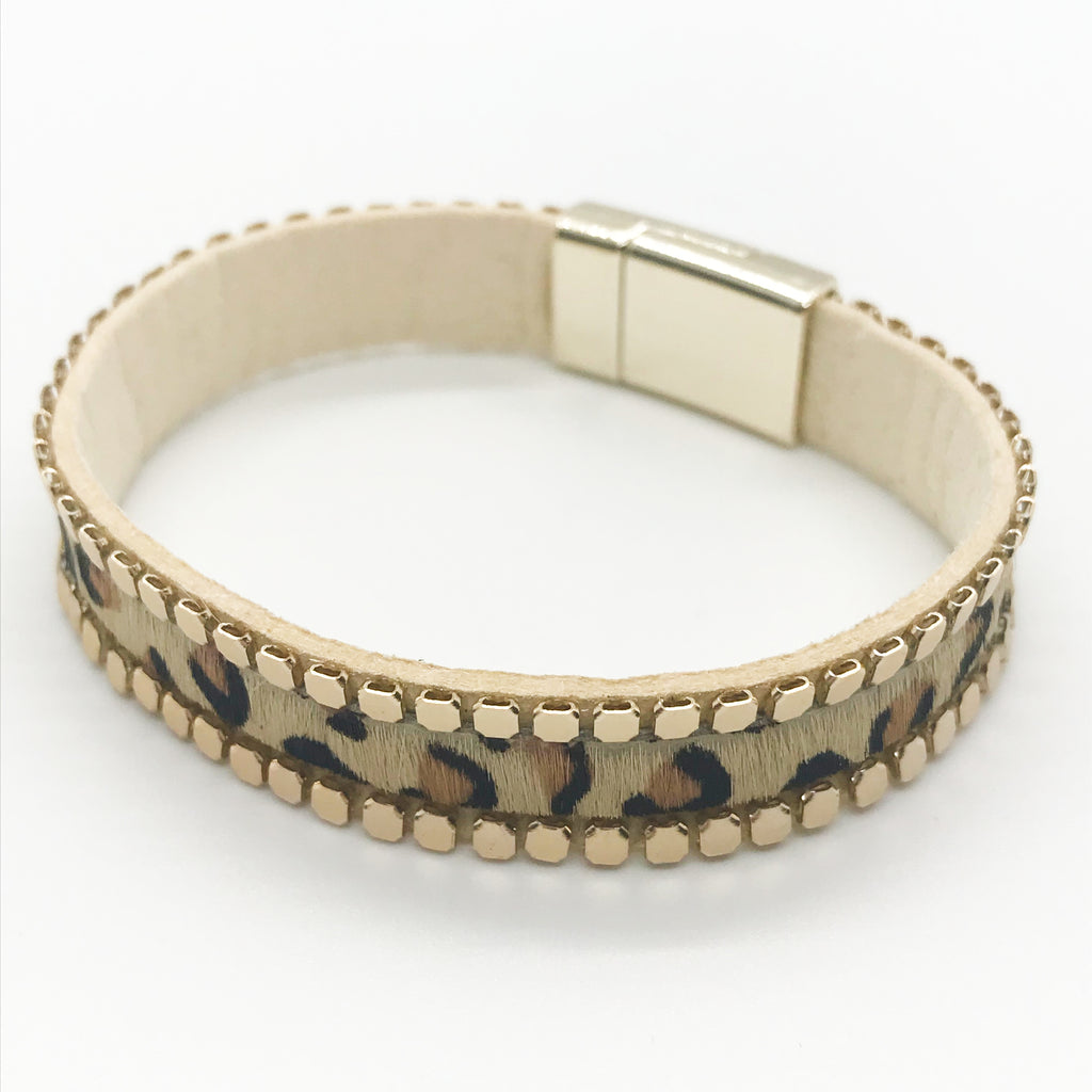 Gold Beaded Leather Bracelet- Leopard