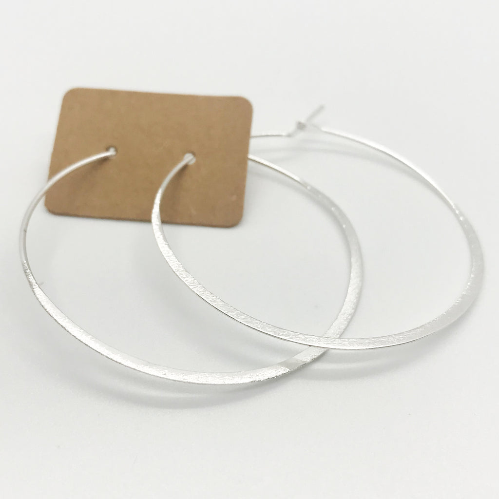 Thin Brushed Silver Hoops
